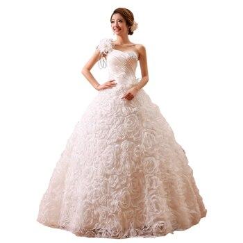 One Shoulder O-neck Short Sleeves Romantic Bride Gowns White Princess Lace up Cheap Wedding Dress vestido de casamento