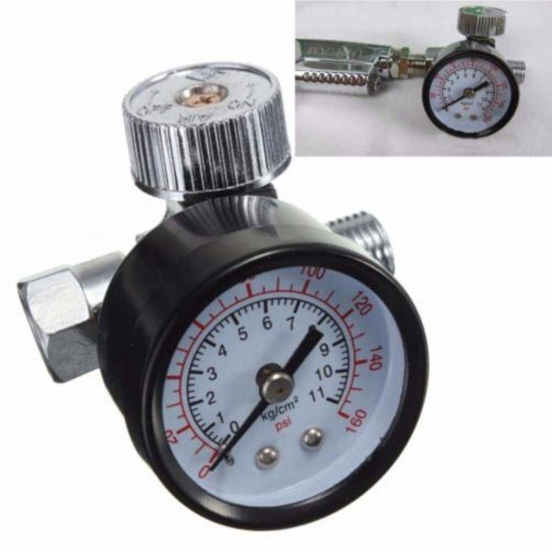 Mayitr 1/4'' Adjustable Mini Air Pressure Regulator Dial Gauge HVLP Spray Air Tools New 1 4inch adjustable mini air pressure regulator dial gauge hvlp spray gun air tools