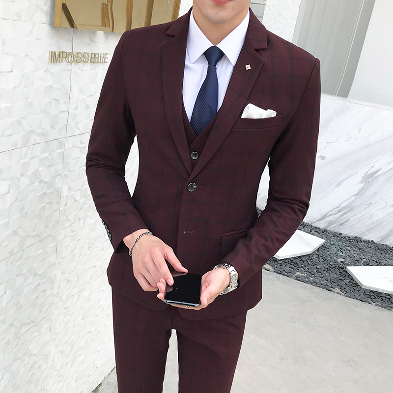 05c8067b5 € 85.92 39% de DESCUENTO Plyesxale azul marino Borgoña gris Plaid traje  para hombres Slim Fit novio boda traje alta calidad hombres trajes ...