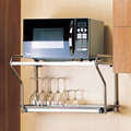 De acero inoxidable horno de microondas rack montado en la pared cocina estante horno doble rack soporte de pared
