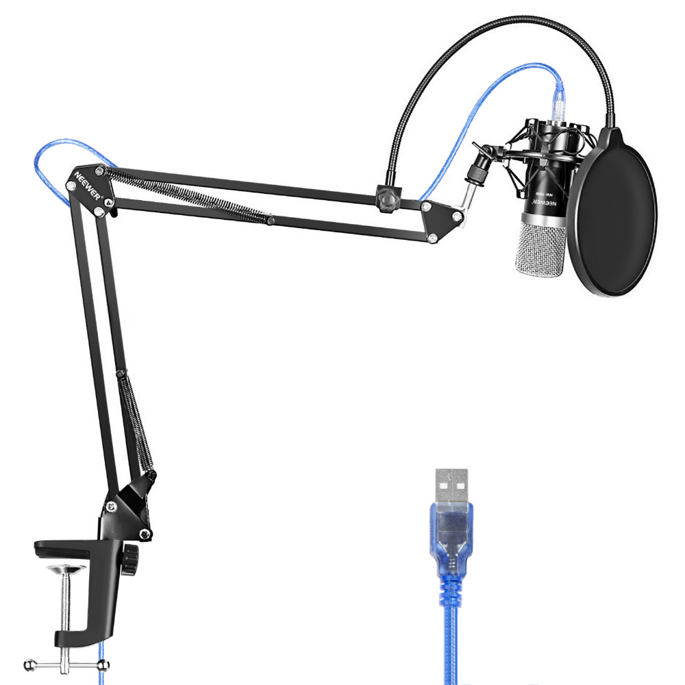 Neewer USB Microphone for Windows and Mac with Stand Shock Mount Table Mounting Clamp Kit for Broadcasting and Sound Recording цены онлайн