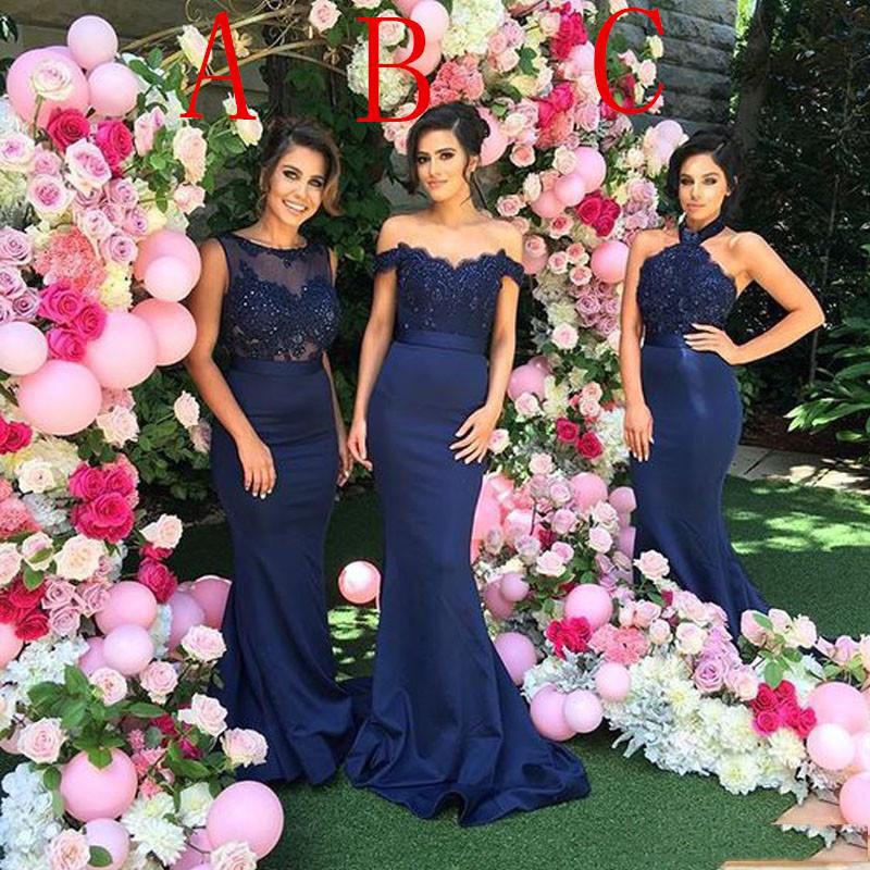 2016 Custom Made Navy Blue Bridesmaids Dresses Sexy Sheer Jewel Halter Off Shoulder Bling Beaded Lace Applique Mermaid Bridesmaid Dress Long99