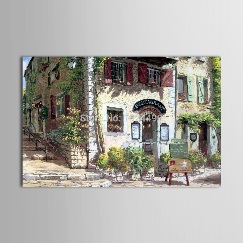Hand Painted Thicking Texture Scenery Art Landscape Oil Painting On Canvas Pastoral Build Paintings Living Room
