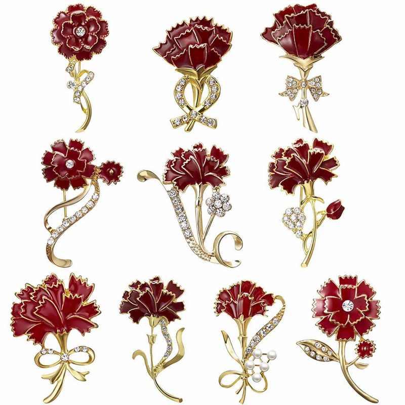 Hoa cẩm chướng Men Đỏ Chân Và Thổ Cẩm Nữ Mẹ Tặng Pha Lê Lapel Pin Broches Fashioin Trang Sức