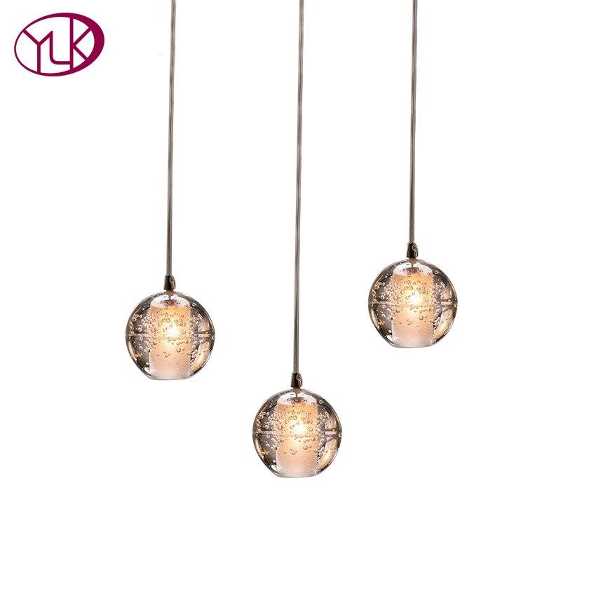 Youlaike Modern Chandelier Lighting 3 Lights Dining Room Crystal Light Fixture Flush Mount Hallway Lustre LED Lamp
