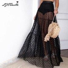 Осенне-зимняя юбка в горошек, Женская эластичная юбка с высокой талией, фатиновая юбка в сеточку, длинная Плиссированная юбка, Женская юбка Jupe Longue