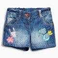 2017 del verano de los bebés cortos graffiti birds ratón bordado pantalones de mezclilla pantalones de los cabritos niños de la historieta shorts ropa