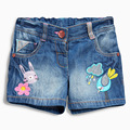 2017 summer baby girls shorts graffiti birds mouse embroidery denim pants kids trousers cartoon children shorts clothing