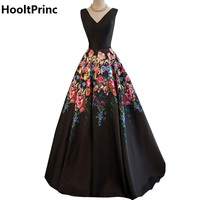 HooltPrinc Sexy Long Evening Party Semi Formal Dress 2017 New Designer Gown Pattern Black A Line