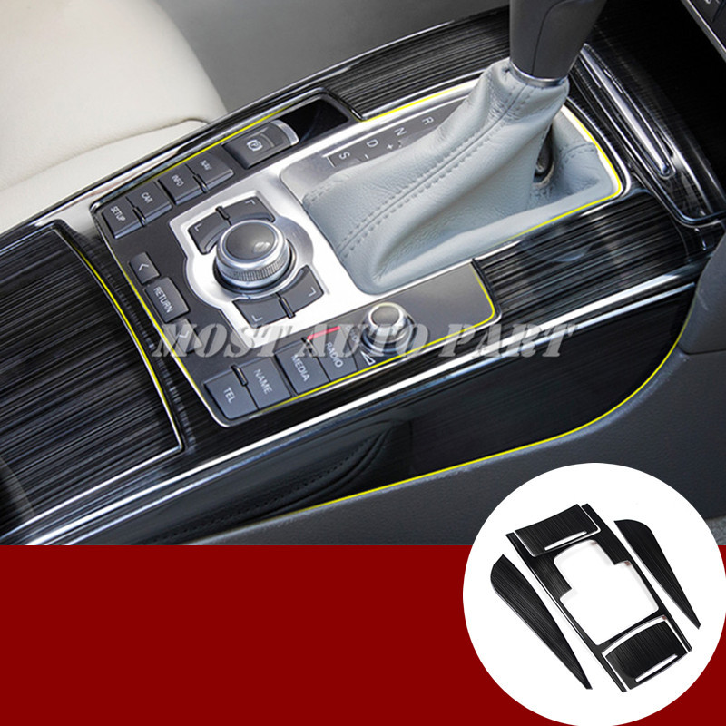 Inner Console Gear Box Water Cup Holder Trim Cover 5pcs For Audi A6 C6 2005 2011