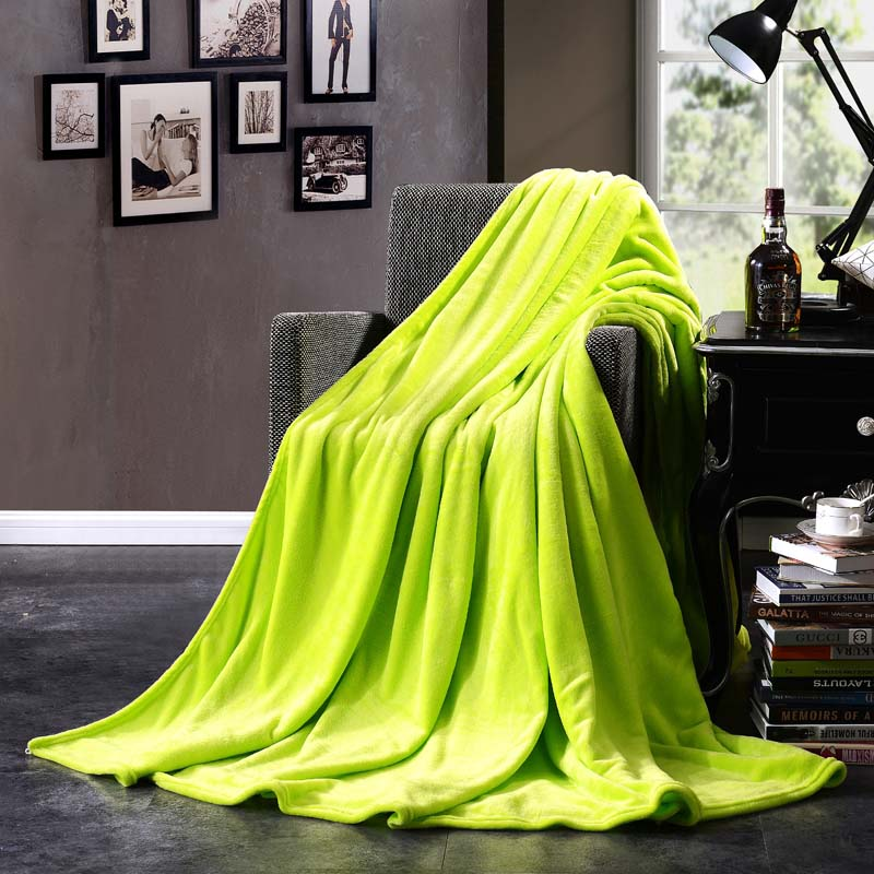 Image 5 - CAMMITEVER Home Textile Pure Color White Coffee Green Solid Air/Sofa/Bedding Throws Flannel Blanket All Seasons Soft Bedsheet-in Blankets from Home & Garden