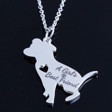 """Stainless Steel PitBull """"A Girl's Best Friend"""" Choker Chain Gold/Silver Dog Necklaces for Women"""