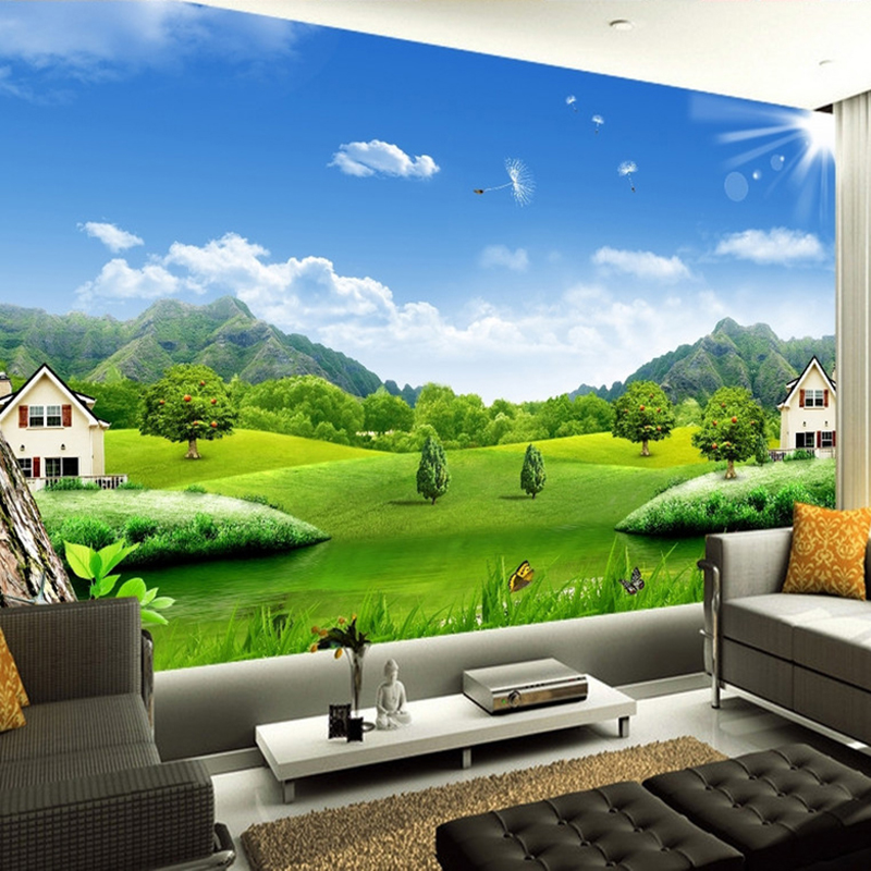Custom 3D Photo Wallpaper Blue Sky White Clouds Village House Nature Landscape Murals Non-woven Straw Texture Mural Wallpaper 3D customize leaves blue sky and white clouds 3d ceiling murals wallpaper living room bedroom