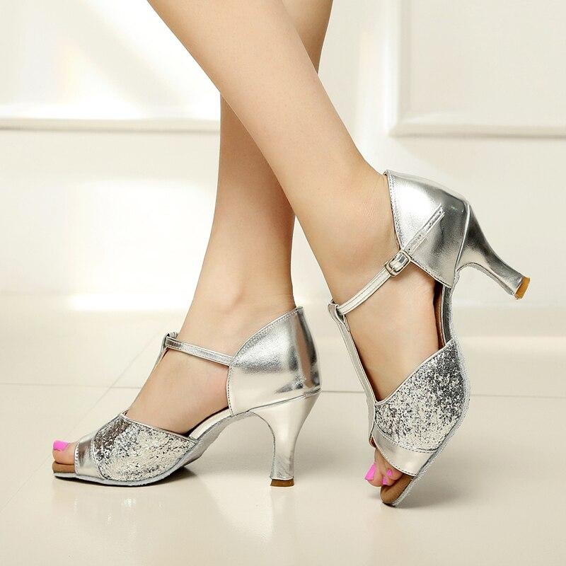 fdfdf7b1 Zapatos de baile latino de satén para mujer/sala de baile de  cuero/Tango/sandalias de Salsa 5 cm/7 cm tacón más estilo (más color) en  Zapatillas de baile de ...