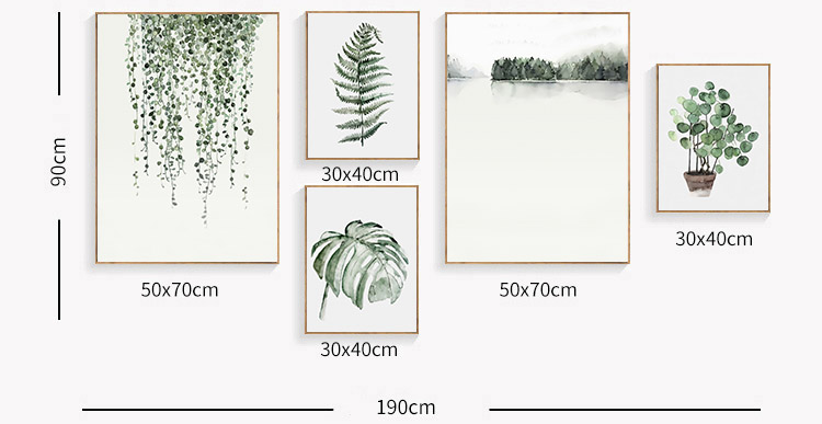 HTB1yfI8XzDuK1Rjy1zjq6zraFXaO Watercolor Plant Leaves Poster Print Landscape Wall Art Canvas Painting Picture for Living Room Home Decor Cactus Decoration
