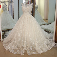 LS24700 Crystal Bridal Dress With Long Train Corset Ball Gown Tulle Beaded Puffy Ivory Lace Wedding