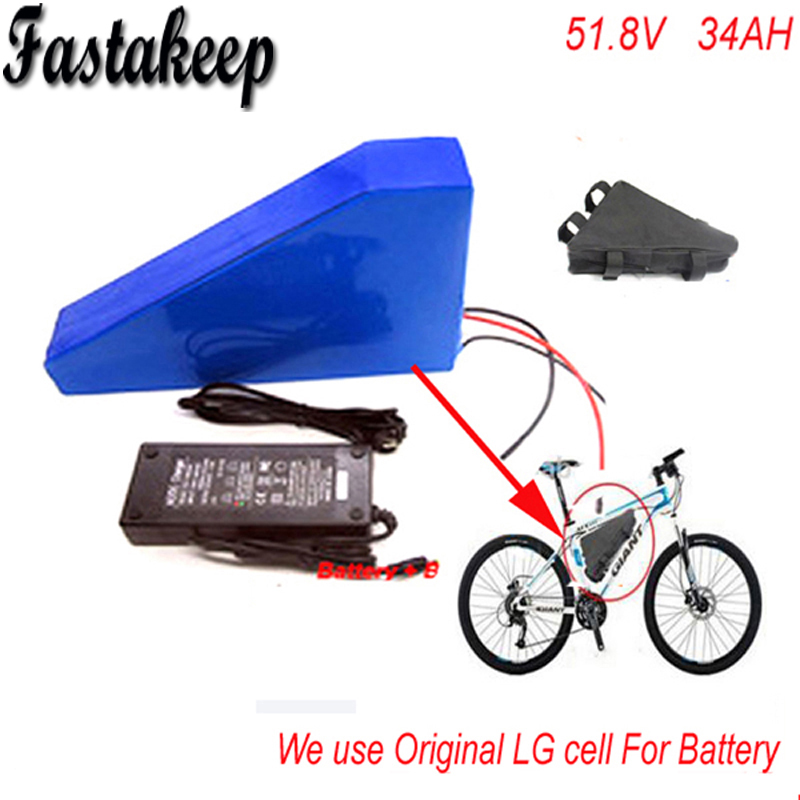 Deep cycle 51.8V 34ah LG 18650 cell Lithium Battery Pack Powerful 52v 1500w Triangle eBike Battery with triangle bag +charger