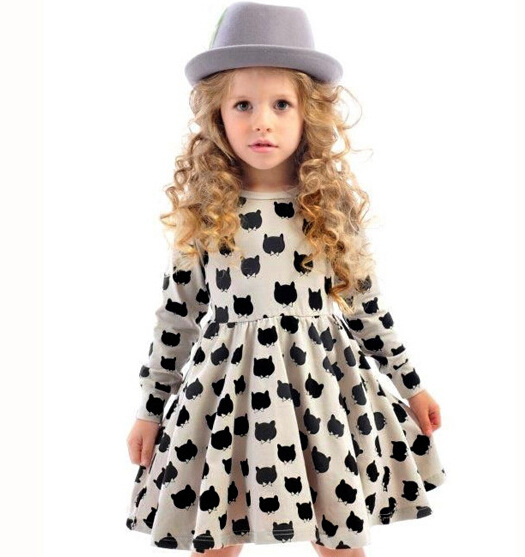 INS Hot Baby Girl Autumn Dress Children Black Cat Long Sleeve Clothes Kid Casual Cotton Dot Clothing Princess Girls Dresses 2-6T fashion brand autumn children girl clothes toddler girl clothing sets cute cat long sleeve tshirt and overalls kid girl clothes