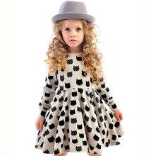 INS Hot Baby Girl Autumn Dress Children Black Cat Long Sleeve Clothes Kid Casual Cotton Dot Clothing Princess Girls Dresses 2-6T