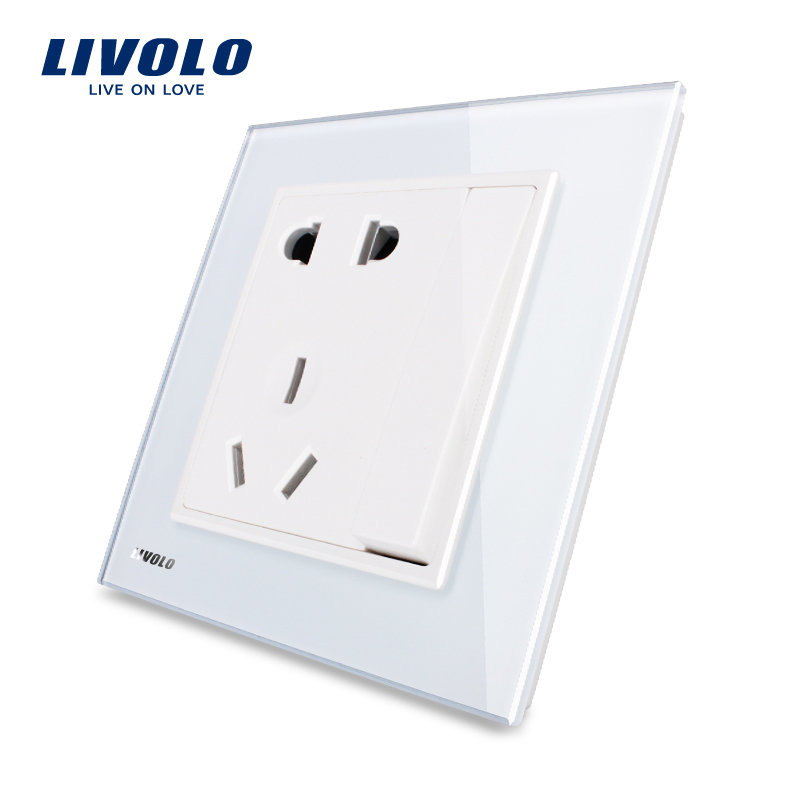 Livolo UK standard Universal Power Socket with One Button(Two-way), White Crystal Glass Panel, VL-W2Z1DS-12/11/13