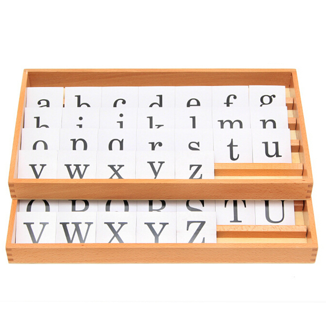 Montessori Material Language Learning Toy 1Box 26 Letters Puzzle Preschool Kindergarten Printed Letter Box