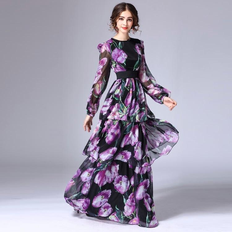 Robe longueur Femmes Photo Imprimé Manches Féminine Superbe Élégant Nouvelle Qualité Plus Longues Plancher Floral Maxi Longue XxxxlTop As Taille De Luxe b6gYfy7