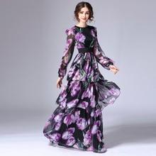 XXXXL Top Quality New Plus Size Long Dress Luxury Women Stunning Floral Print Long Sleeve Floor