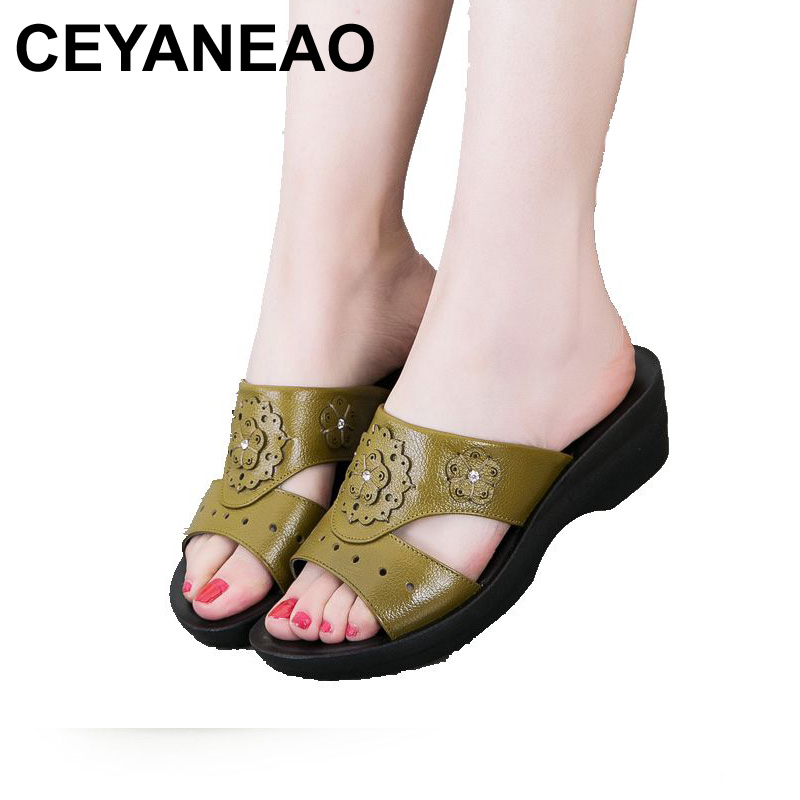 CEYANEAO 2017 summer new Mother sandals elderly fashion casual Leather Female flat sandals hollow large size women sandals 41 42 timetang mother sandals soft leather large size flat sandals summer casual comfortable non slip in the elderly women s shoes