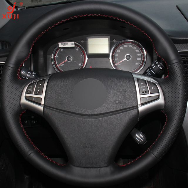 XUJI Black Leather Hand-stitched Car Steering Wheel Cover for Ssangyong Korando 2011-2014