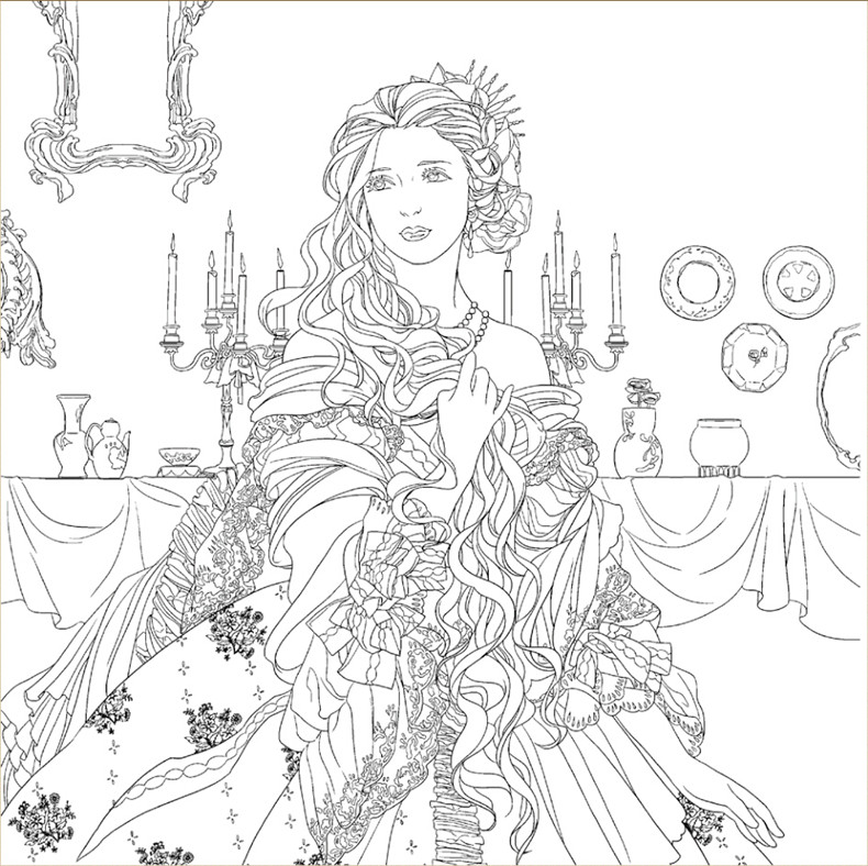 Beauty and the Beast Colouring Book Secret Garden Style Coloring ...