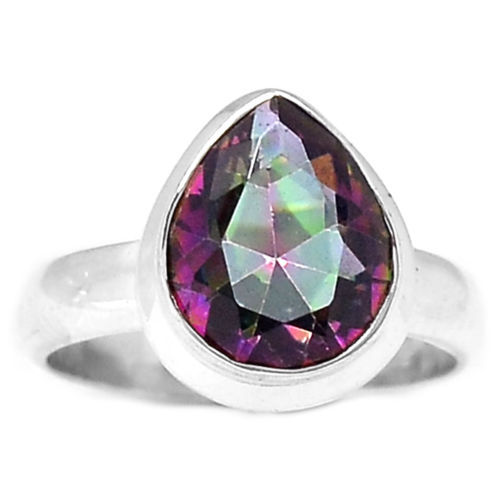 Hand Made Mystic Topaz Ring 100% 925 Sterling Silver ,Size:8.75, AR0299