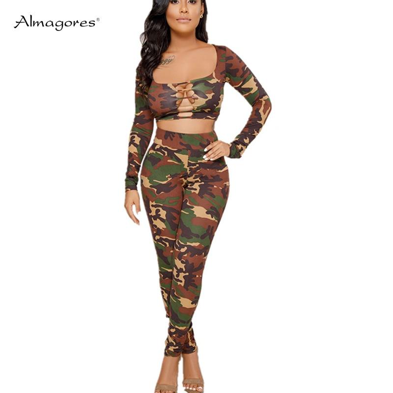Almagores Camouflage 2 Two Piece Set Tracksuit Fashion Low Cut Hollow Out Women Sets Sweatsuits Crop Survetement Femme Military