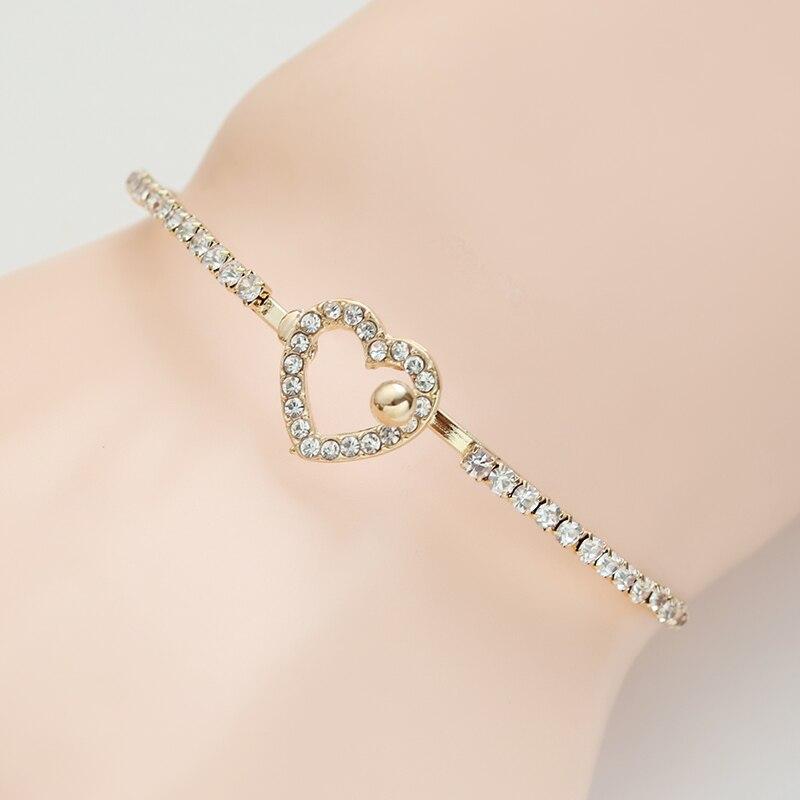 Fashion White Rhinestone Love Heart Bracelets For Women Gold Metal Female Bracelet Crystal Heart Bracelets & Bangles Pulseira