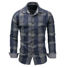 MORUANCLE Mens Casual Plaid Denim Shirts Long Sleeve Jeans Shirts Tops For Man Turn Collar Camisa Masculina Size M-XXXL(China)