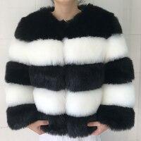 2017 Winter Thick Warm Fur Coat Women Fashion Black White Striped Patchwork Artificial Fur Coat Short Jacket Waistcoat PC269