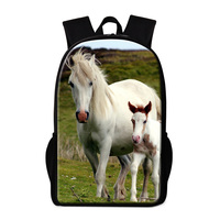 Dispalang 3D Zoo Animal Print Backpacks For Children Customized White Horse Travel Shoulder Bag For Men