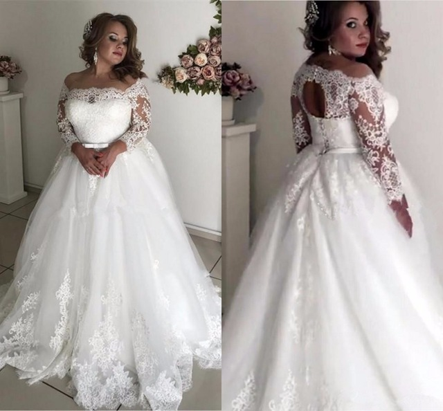 Plus Size Wedding Dresses Sheer Neck Long Sleeve Appliques Illusion Sash Hollow Back Garden Country Bridal Gowns Robe De Mariee