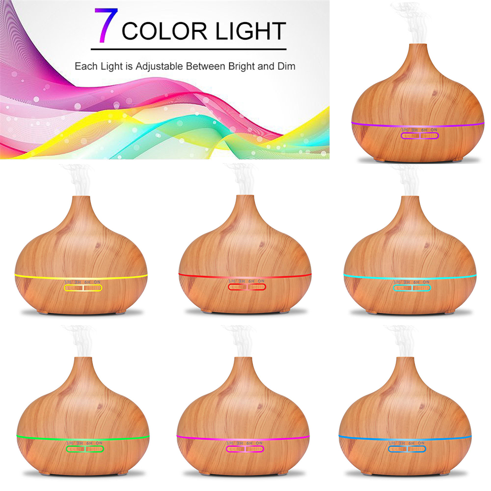 THANKSHARE 550ml Humidifier Remote Control Ultrasonic Air Diffuser Wood Grain Aromatherapy Essential Oil Aroma Mist Maker Home