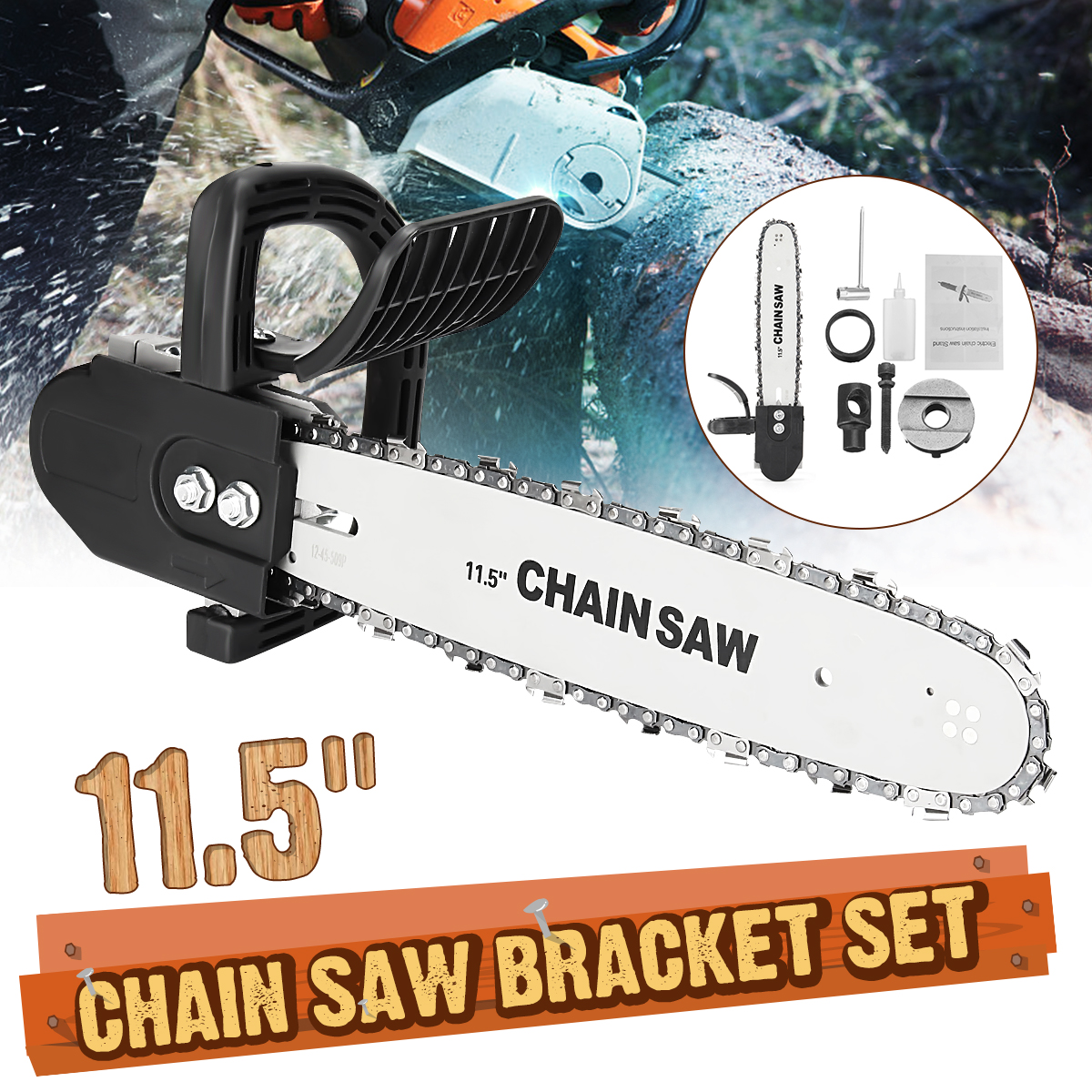 Electric Saws 11.5 Inch Chainsaw Bracket Set High Carbon Steel For Electric Angle Grinder To Chain Saw Woodworking Power Tools chainsaw parts chain saw carry storage bag for saws with 12 to 20 guide bar length
