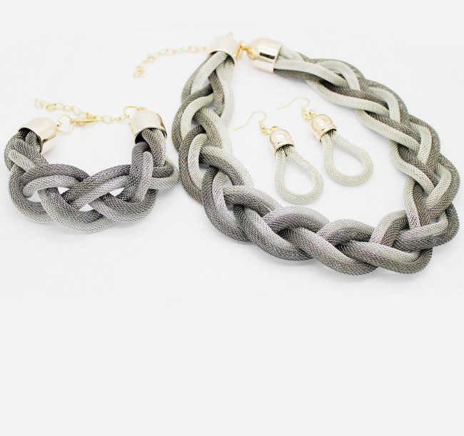 Jinao 2015 New Arrival Fashion Jewelry Scrubs Curly women Necklaces Popular Yarn Weave Punk Twining Chain Necklace Jewelry Sets