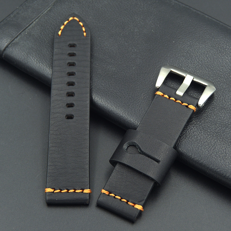 купить high quality Calf Leather Watch Band 22mm 24mm Men's fashion Watch Strap For Panerai Omega Seiko Various brands of large watches по цене 1204.88 рублей