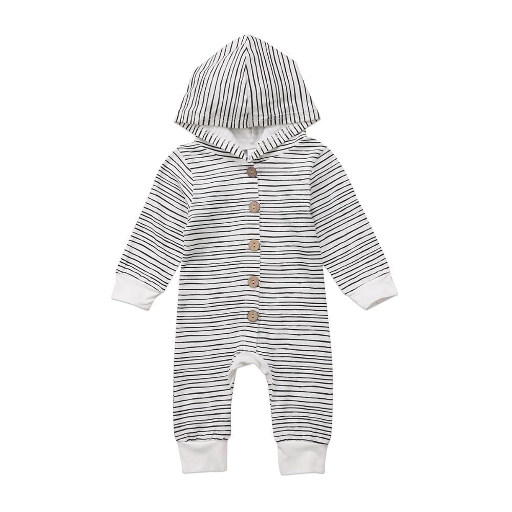 Одежда для новорожденных мальчиков и девочек, повседневный комбинезон в полоску с длинными рукавами и капюшоном, комбинезон, осенняя одежд...