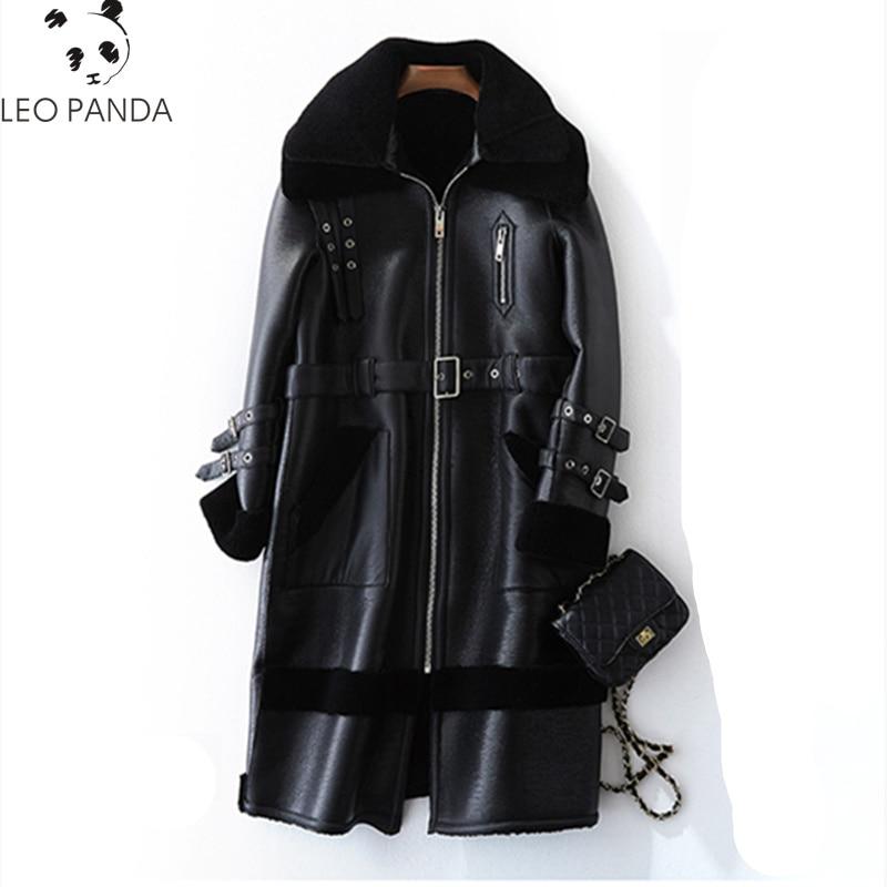 Laine Véritable Veste Vêtements Coréenne Gules Automne Cuir Manteau Mouton black Doublure Hiver Femmes 100 2018 Fourrure De Pu FU8xSw5wq