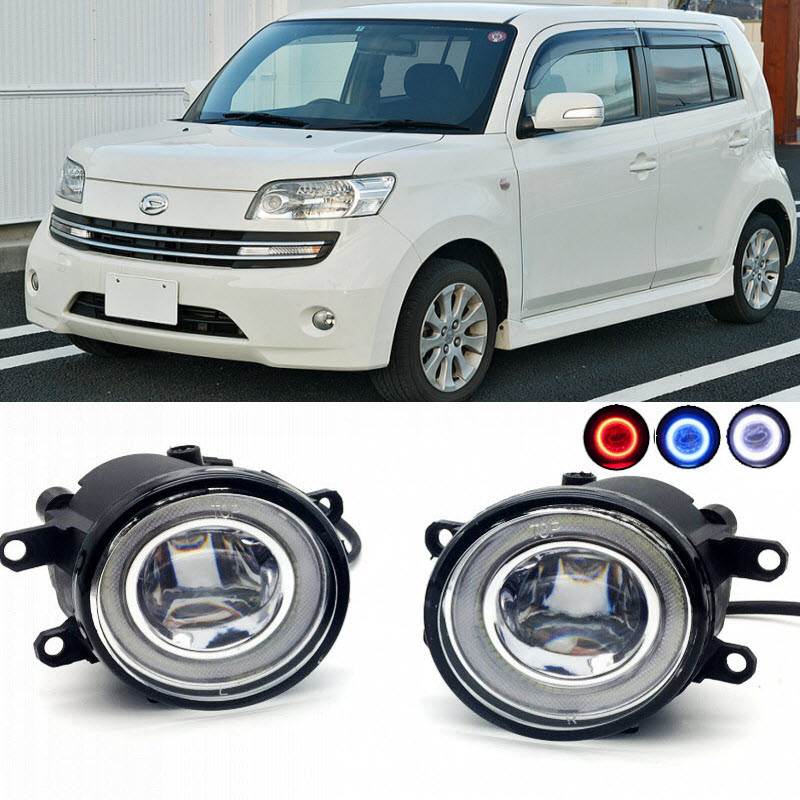 2 in 1 LED Cut-Line Lens Fog Lights Lamp 3 Colors Angel Eyes DRL Daytime Running Lights for Toyota BB Daihatsu COO car styling 2 in 1 led angel eyes drl daytime running lights cut line lens fog lamp for land rover freelander lr2 2007 2014