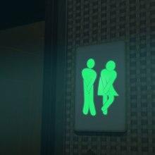 Waterproof Luminous WC Wall Toilet Sticker Door Sigh Glow In The Dark Fluorescent Poster Stickers for Bathroom