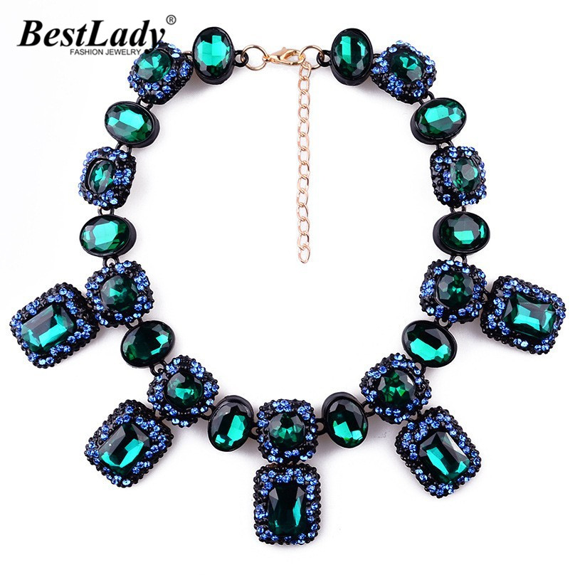 Best lady New Arrival Green Red Crystal Statement Necklace Stones Luxury Gem Pendant Good Quality Fashion Jewelry For Women B225