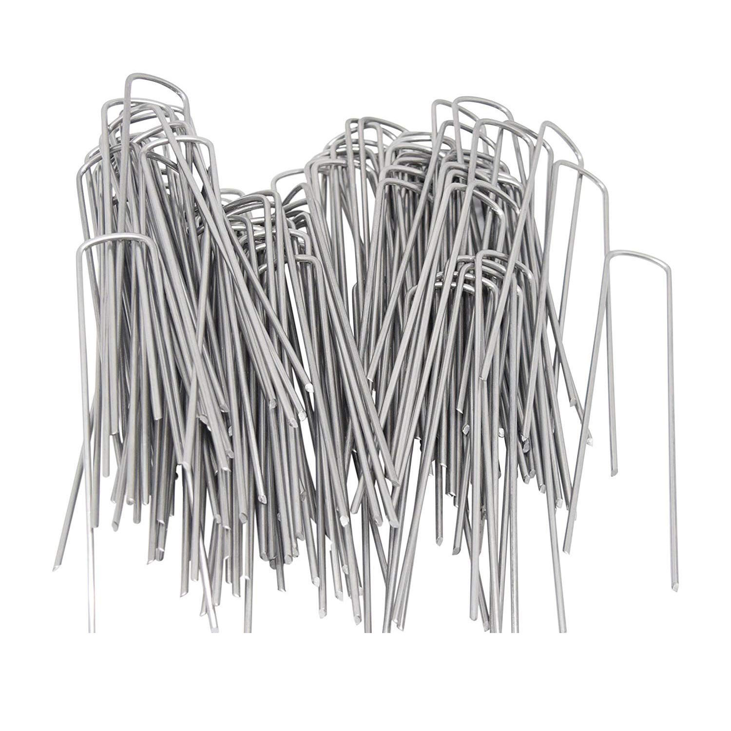 Garden Pegs 100x3.0mm x 6 inch /150mm Galvanized Landscape Ground Staples Rust Resistant Steel Sod Lawn U Pins - Securing Net 10pcs nsi45020at1g nsi45020 sod 123