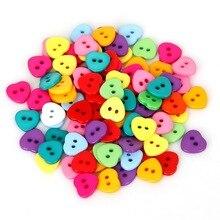 Смешанные 2-отверстия 2 размера 50 шт./лот смолы сердце кнопки для шитья скрапбукинга DIY аксессуары для домашней одежды