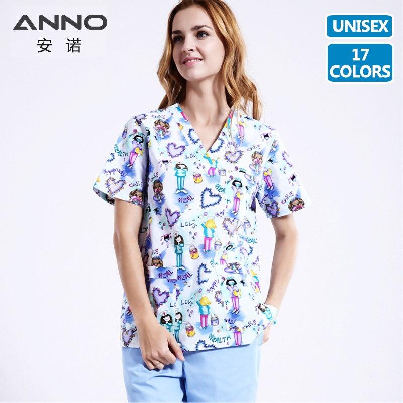 ANNO 5XL Plus Size 14 Colors Medical Scrubs Set Nursing Uniforms Medical Clothing Dental Clinic Nursing Scrubs Women Men Unisex