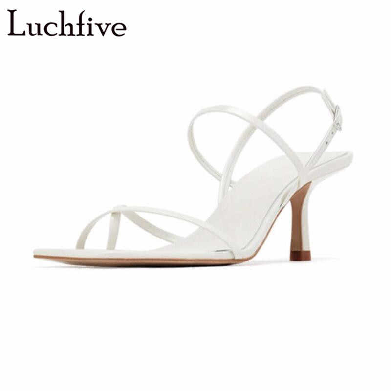2019 Split Toe White Sandals Ankle Buckle Strap Runaway Ladies Shoes Sexy Summer Slingbacks High Heels Sandals Women